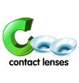 A letter c for contact lenses vector