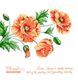 Red poppy card vector
