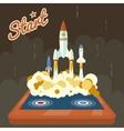 Retro start up poster concept symbol space roket vector