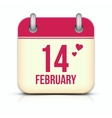 Valentines day calendar icon with reflection 14 vector