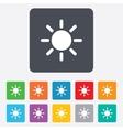 Sun sign icon solarium symbol heat button vector