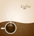 Coffee with beans on brown background vector