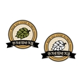 Two circular brewery labels vector