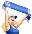 Woman holds sports team scarf and shouts vector