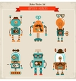 Set of vintage hipster robot icons vector