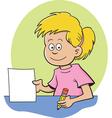 Cartoon girl sitting at a desk vector