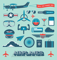 Airplanes and flight icons and objects vector