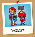 Russia travel polaroid people vector