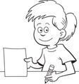 Cartoon girl sitting at a desk vector