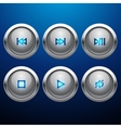 Glossy multimedia control web icon set vector