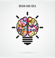 Creative brain idea and light bulb concept vector