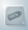 Label percent glass square icon vector