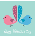 Two birds with heart tails happy valentines day vector