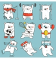 Cartoon sport bears in action collection vector
