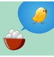 Eggs are thinking that they will become chickens vector