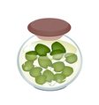 A jar of pickled common frogbit plant vector