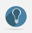 Lightbulb circle blue icon with shadow vector