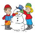 Cartoon kids building a snowman vector