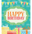 Birthday card with present and gift box vector