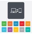 Synchronization icon notebook with smartphone vector