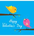 Two cartoon birds happy valentines day card vector