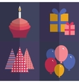 Happy birthday flat style set cupcake with a vector
