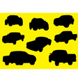 Pick-up trucks silhouettes part 1 vector
