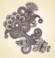 Original hand draw line art ornate flower desig vector