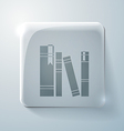 Spines of books glass square icon vector