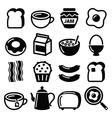 Breakfast food icons set - toast eggs vector