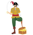 Pirate was standing holding a drawn sword vector