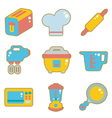 Cute icon kitchen appliances vector