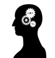 Head and brain gear silhouette vector