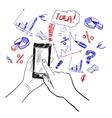 Hands touchscreen sketch business vector