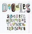 Doodle alphabet font notebook vector