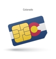 State of colorado phone sim card with flag vector