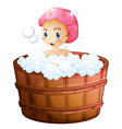 A smiling girl taking a bath vector