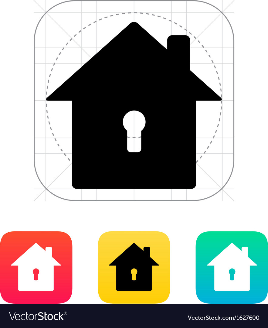 Abstract home with keyhole icon vector | Price: 1 Credit (USD $1)