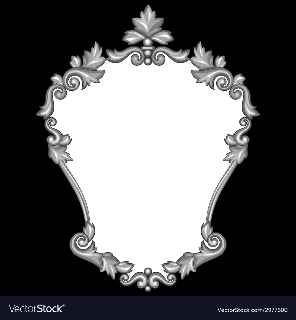 Baroque ornamental antique silver frame on black vector | Price: 1 Credit (USD $1)