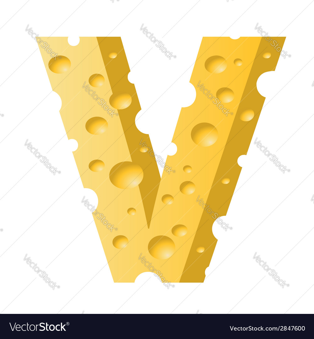 Cheese letter v vector | Price: 1 Credit (USD $1)