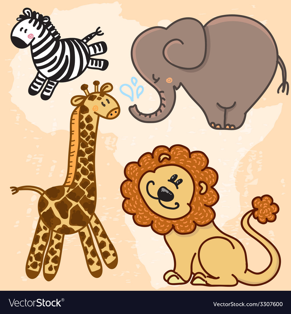 Cute cartoon baby african animals set vector | Price: 1 Credit (USD $1)