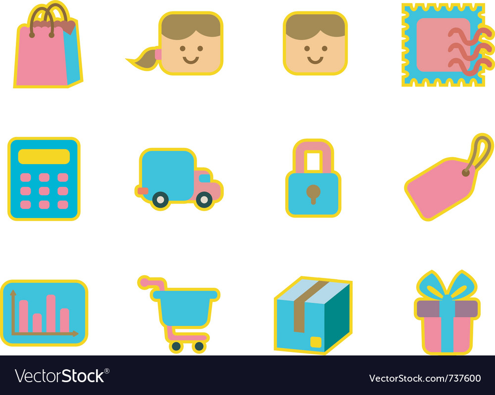 Cute icon shopping vector | Price: 1 Credit (USD $1)