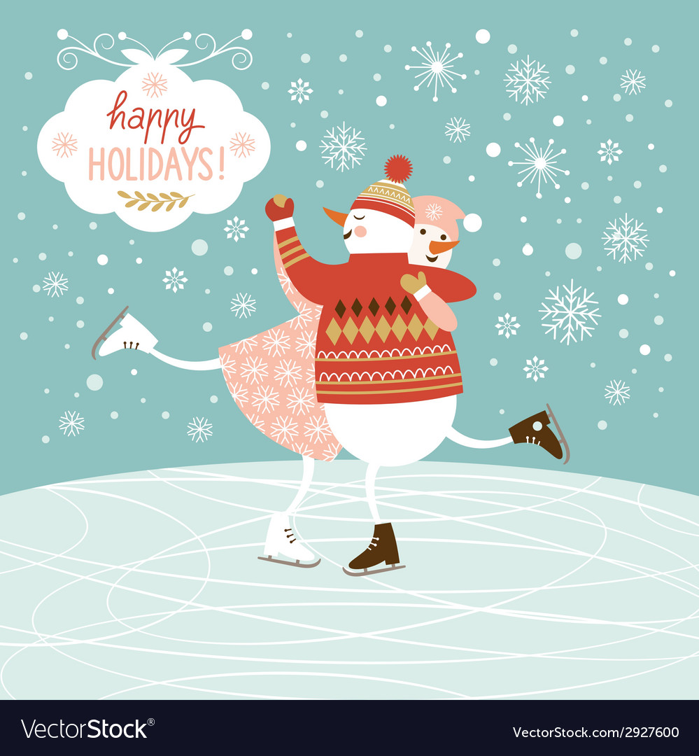 Cute snowmans skate vector | Price: 1 Credit (USD $1)