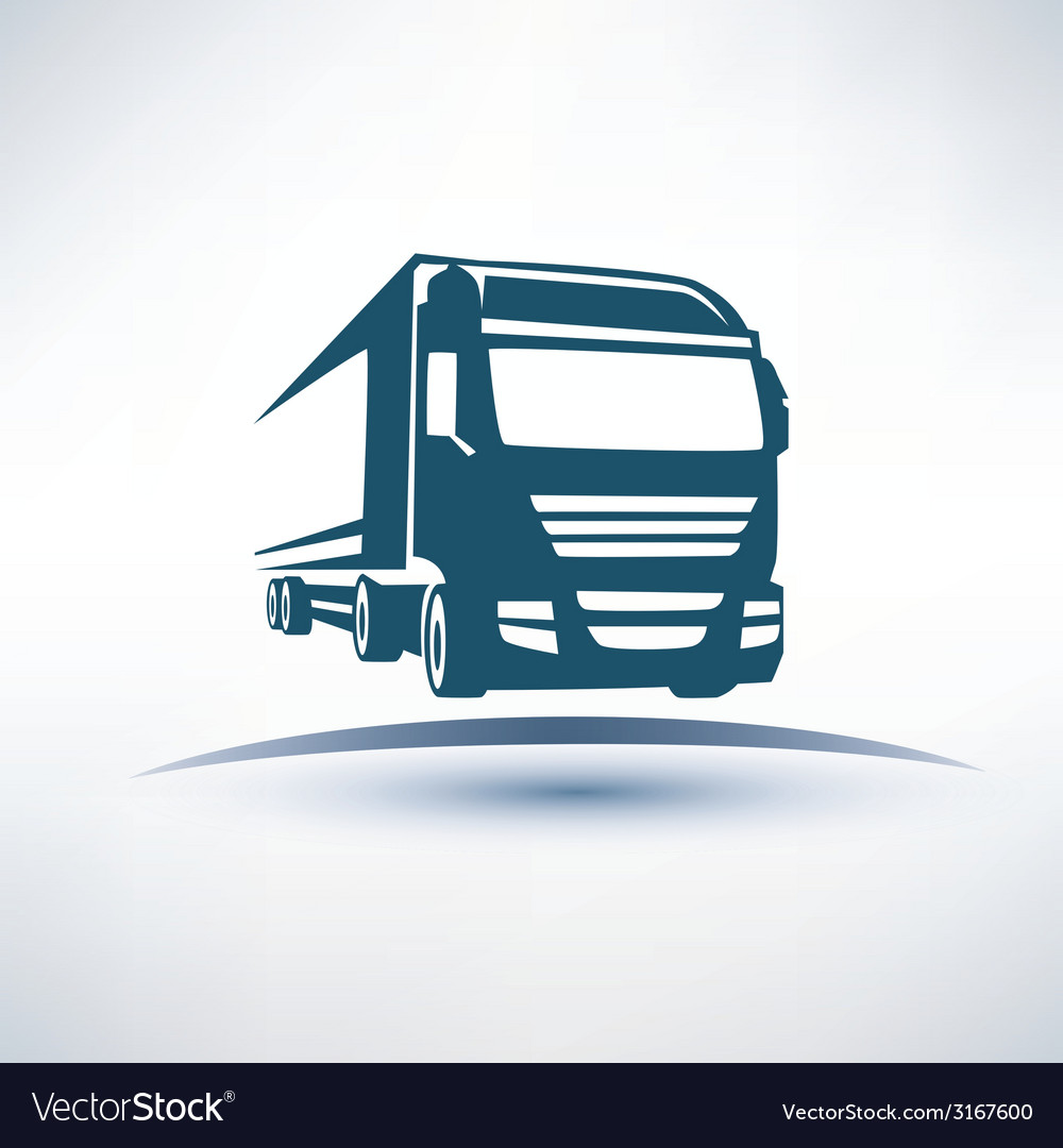 Europian truck outlined symbol vector | Price: 1 Credit (USD $1)