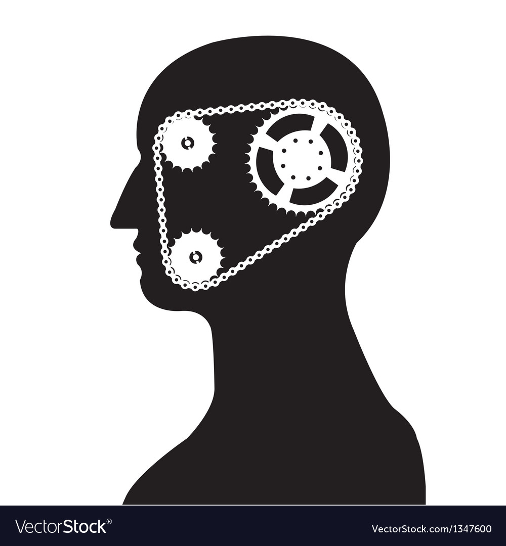 Gear and chain brain silhouette vector | Price: 1 Credit (USD $1)