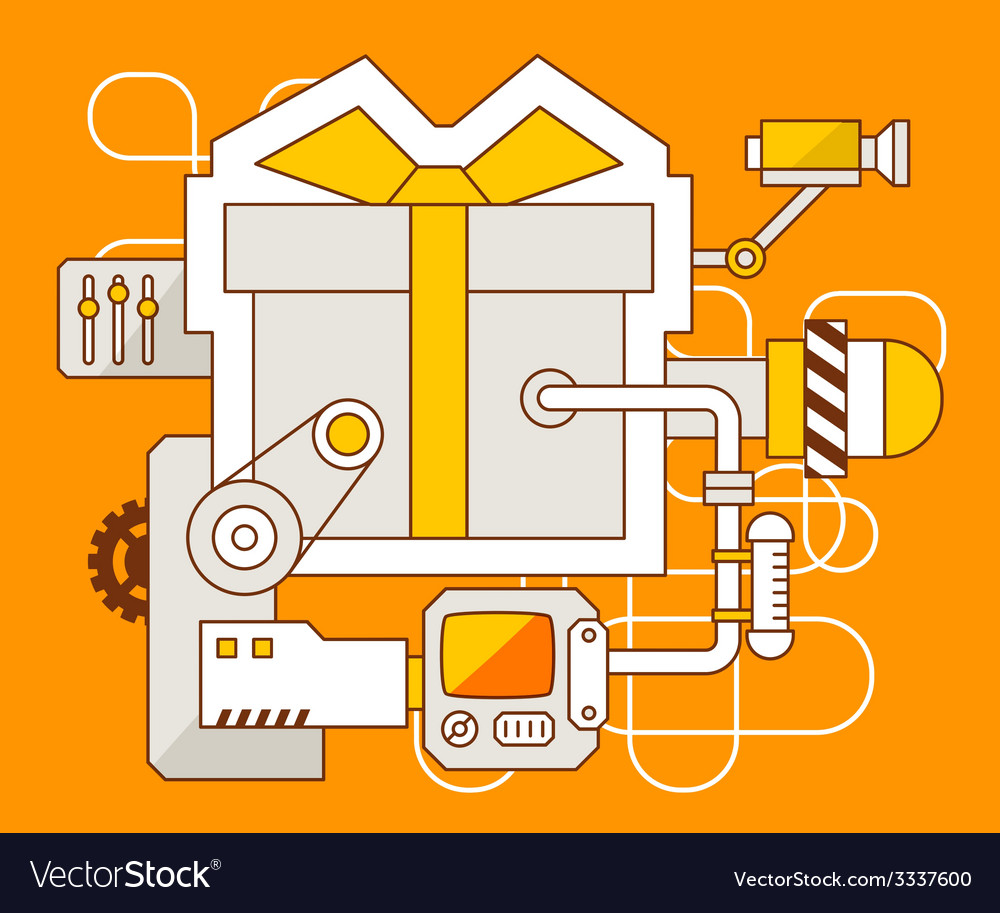 Industrial of the mechanism of gift box with vector | Price: 3 Credit (USD $3)