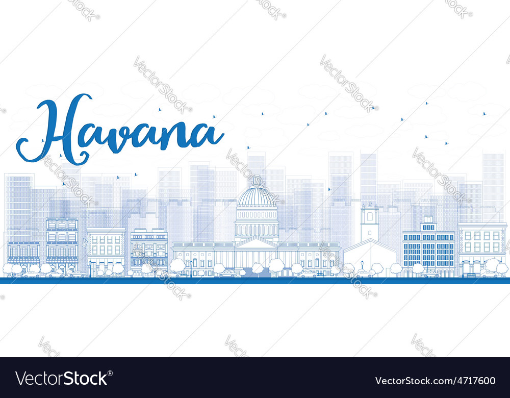 Outline havana skyline with blue building vector | Price: 1 Credit (USD $1)