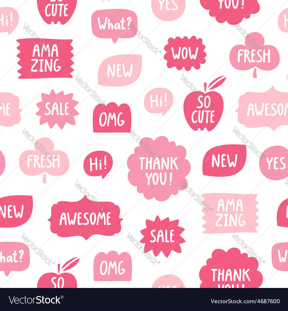 Pink color phrases seamless pattern on white vector   Price: 1 Credit (USD $1)