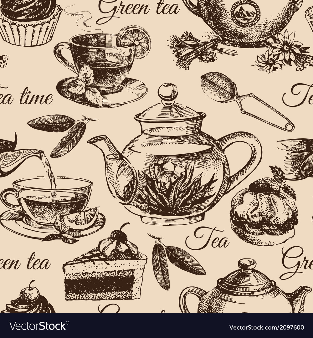Tea and cake seamless pattern hand drawn sketch vector | Price: 1 Credit (USD $1)