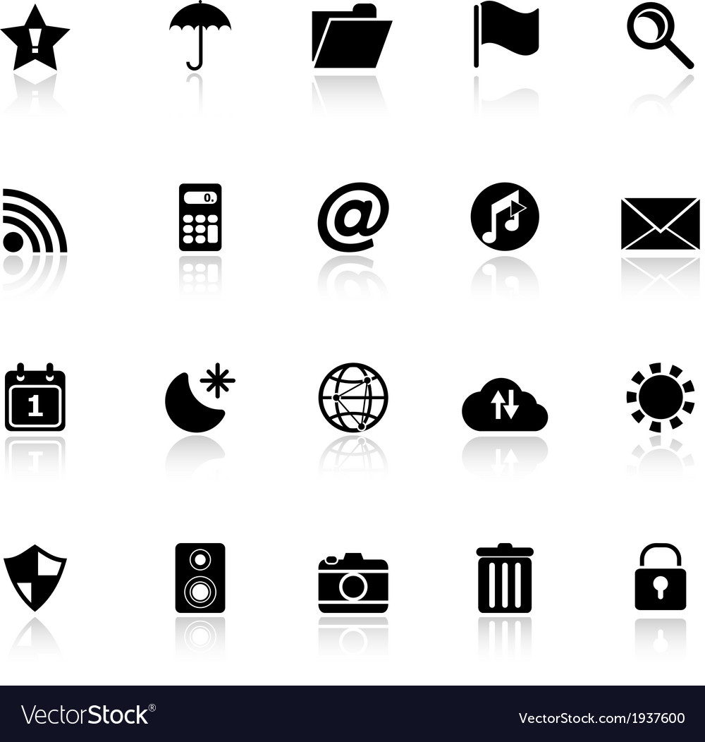 Tool bar icons with reflect on white background vector | Price: 1 Credit (USD $1)
